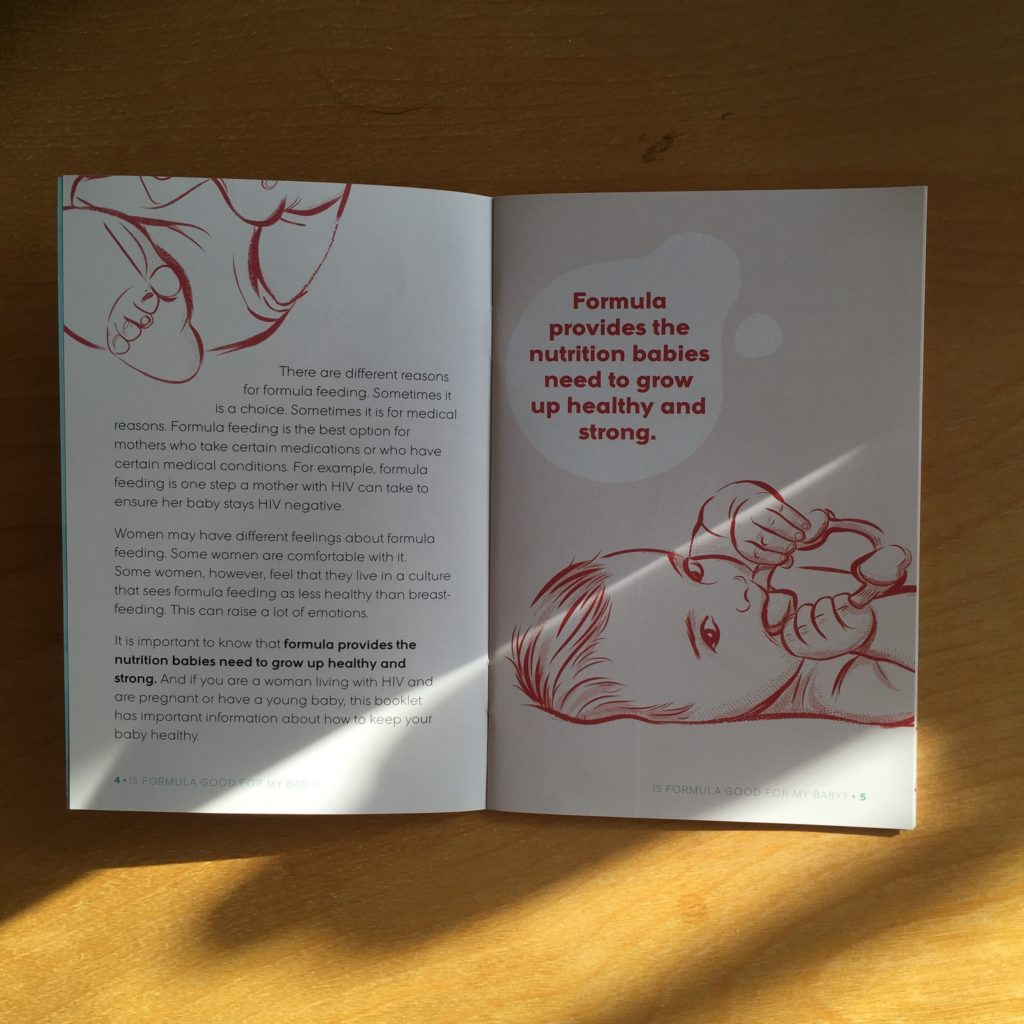 "Photo: Two-page spread from ""Is Formula Good for my Baby?"" — an infant feeding resource for HIV positive mothers. On the left is a page with text. The right side of the spread is an illustration of a baby with a large text inside a spilled milk shape that reads ""formula provides the nutrition babies need to grow up healthy and strong."""