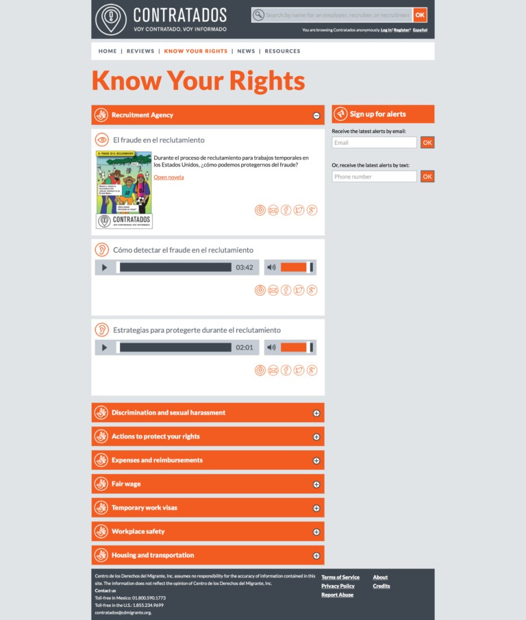 Know Your Rights page on Contratados.org