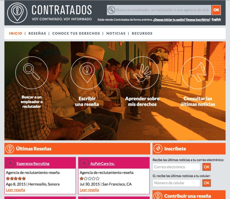 Homepage of Contratados website