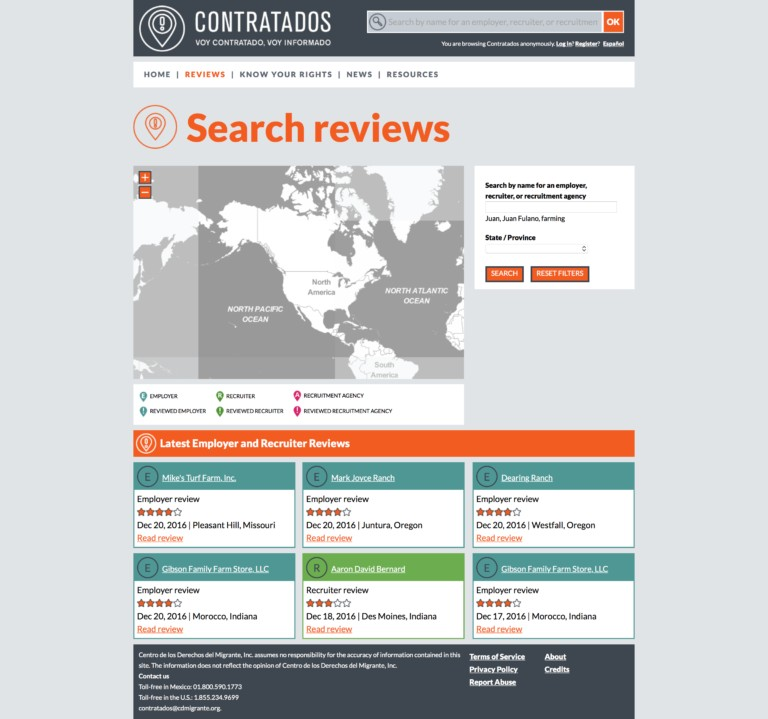 Contratados website reviews section