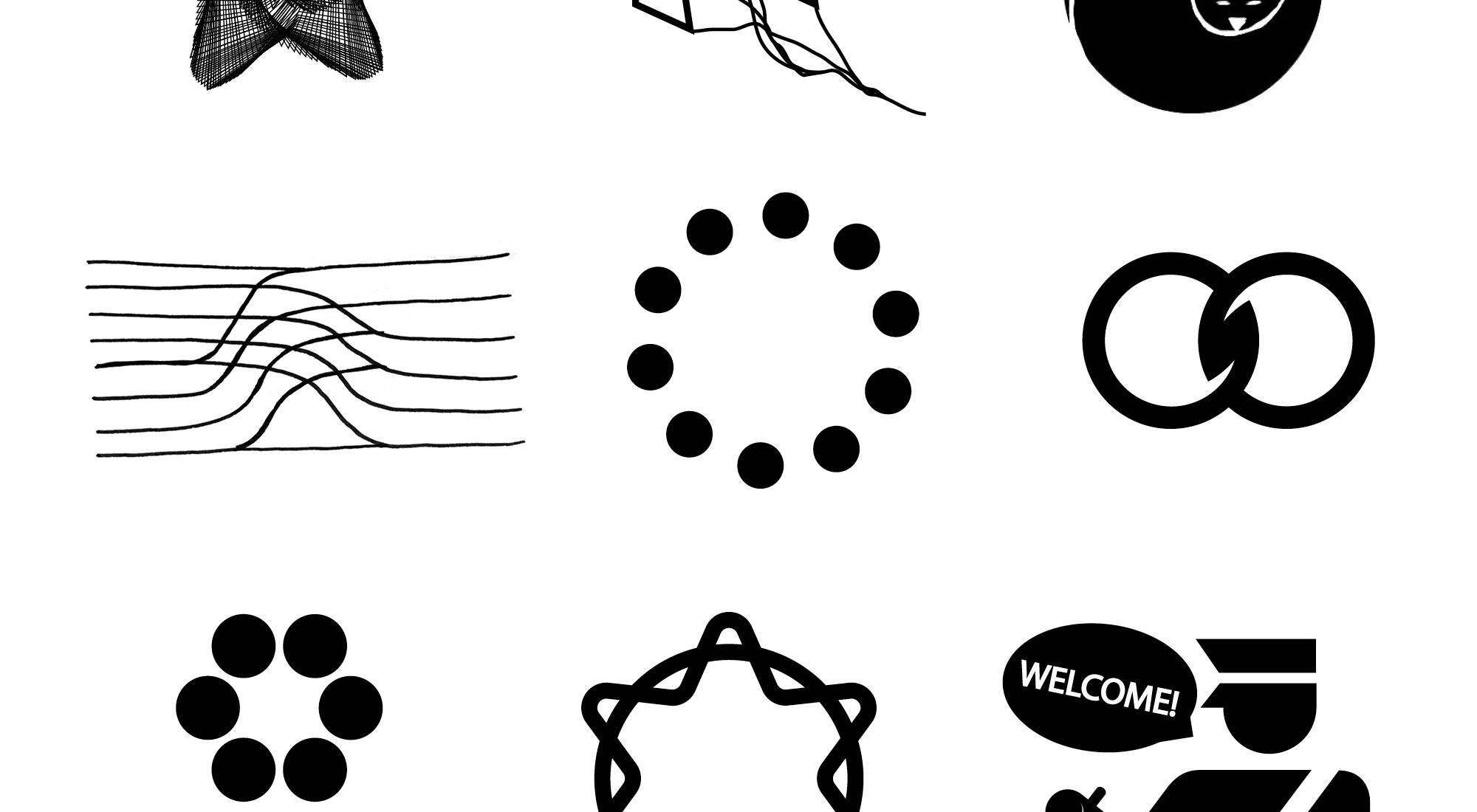 Nine black and white abstract icons created as part of the Vision Archive. Each icon is a visual representation of social movement imagery co-created by designers, artists, advocates and community organizers for a world they want to see.