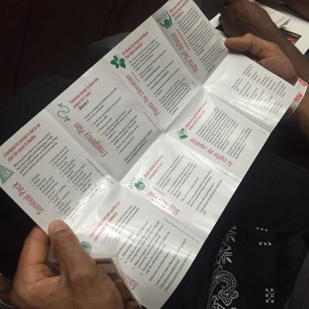 "A pair of hands holds open the ""Get Ready, Stay Ready"" zine. The headings on the page include ""Survival Pack, Emergency Plan, and Plants for Liberation."" There are illustrations in green representing the headings either abstractly or literally."