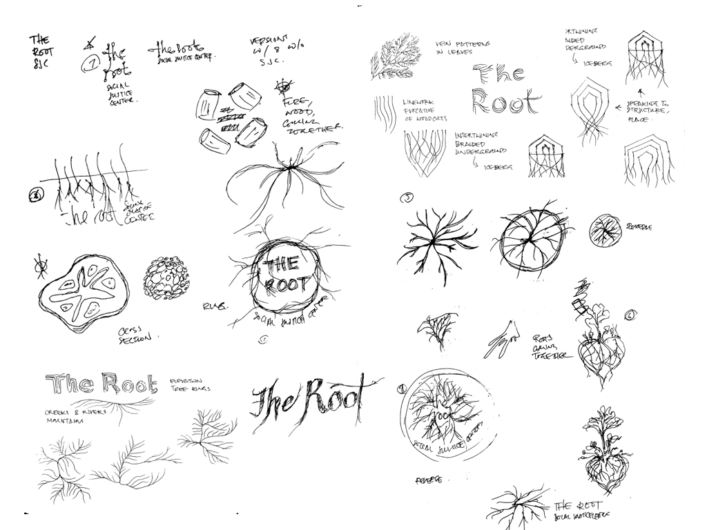A couple dozen black & white hand drawn logo sketches