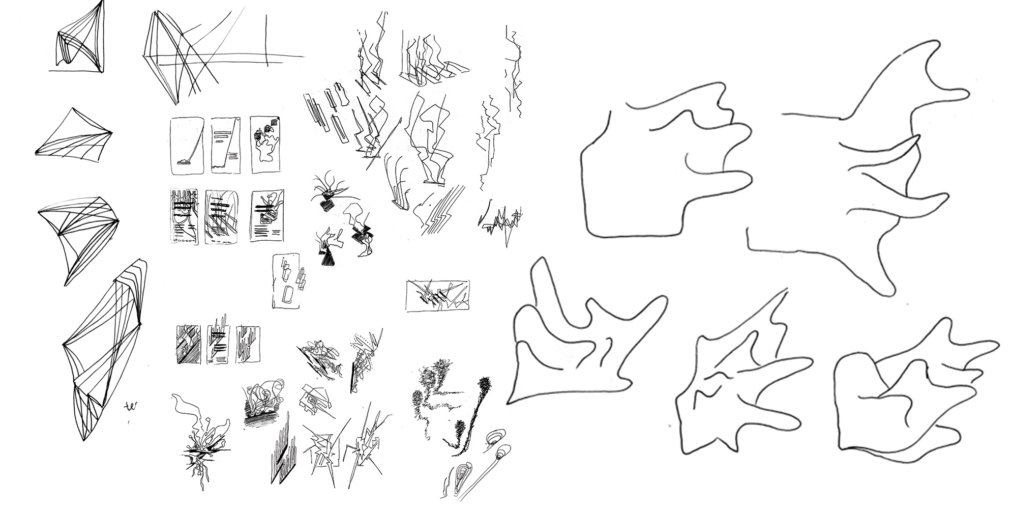 Image of ink sketches resulted from listening to the music featured in The Music Gallery's 2017-2018 season. The left half of the image contains various abstract line drawings, scribbles and doodles. The right half contains five sketches of gooey-looking shapes.