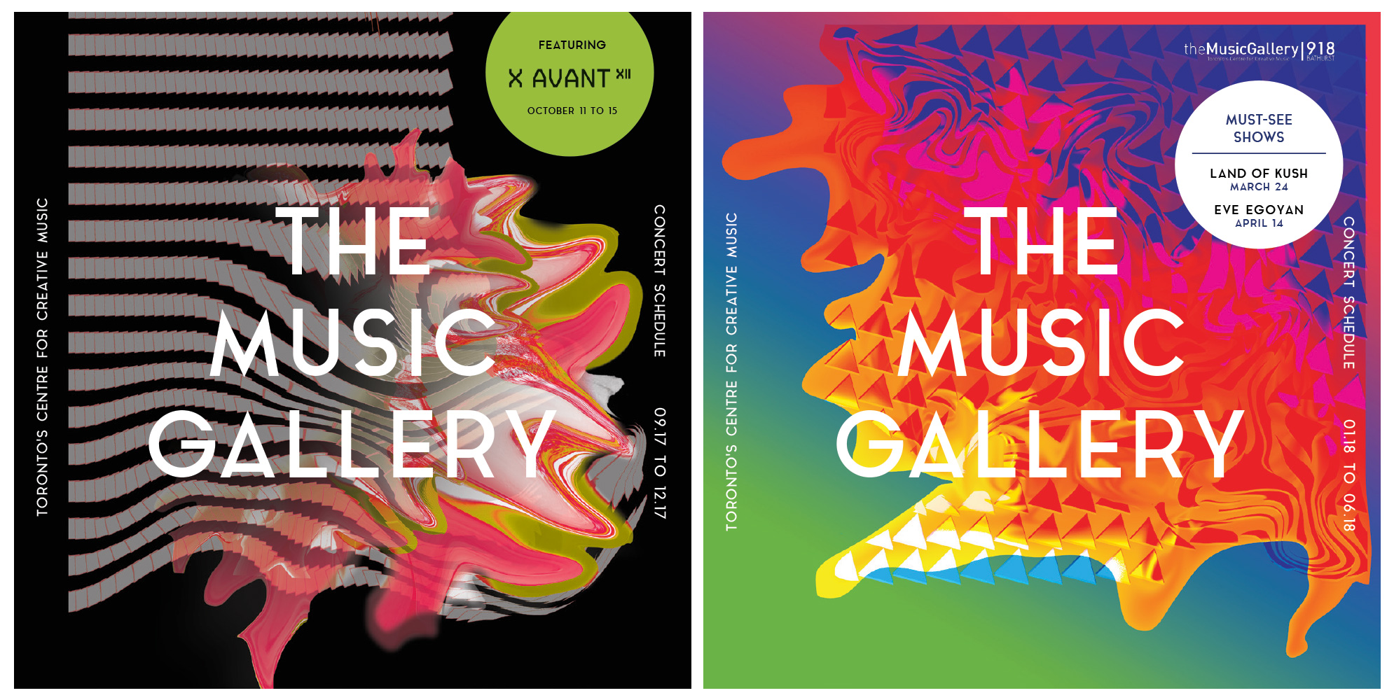Image of the Fall and Winter guide covers for The Music Gallery's 2017-2018 season. The Fall guide cover (left) consists of a grey geometric pattern bursting out into a colorful formation of rounded peaks from the center of the image to the bottom left of the canvas. The Winter guide cover (right) shows of a series of triangular sequences melting into a lava-looking substance. This substance moves from the top right corner towards the bottom left of the page through a blue and green gradient background.