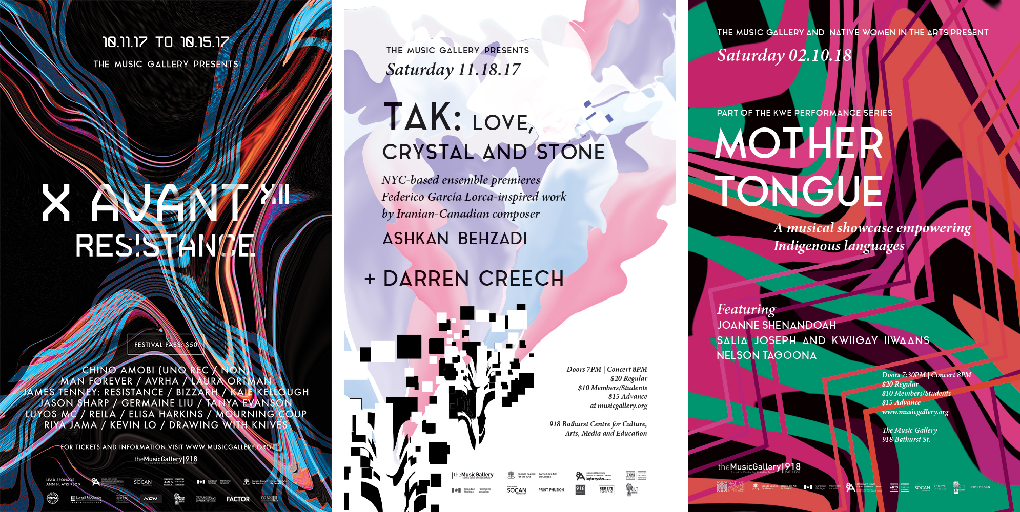 "Image of three posters produced for The Music Gallery's 2017-2018 season. The first poster (left) is for the 12th edition of X Avant Festival. It consists of a wavy blue and red ""X"" stretching over a black background. The center and right posters are for the first two concerts in the season. The center poster shows a cloud-like shape coming out of a series of white and black squares at the bottom of the canvas. The right poster shows an assymetrical pattern of pink, green, orange and black waves."