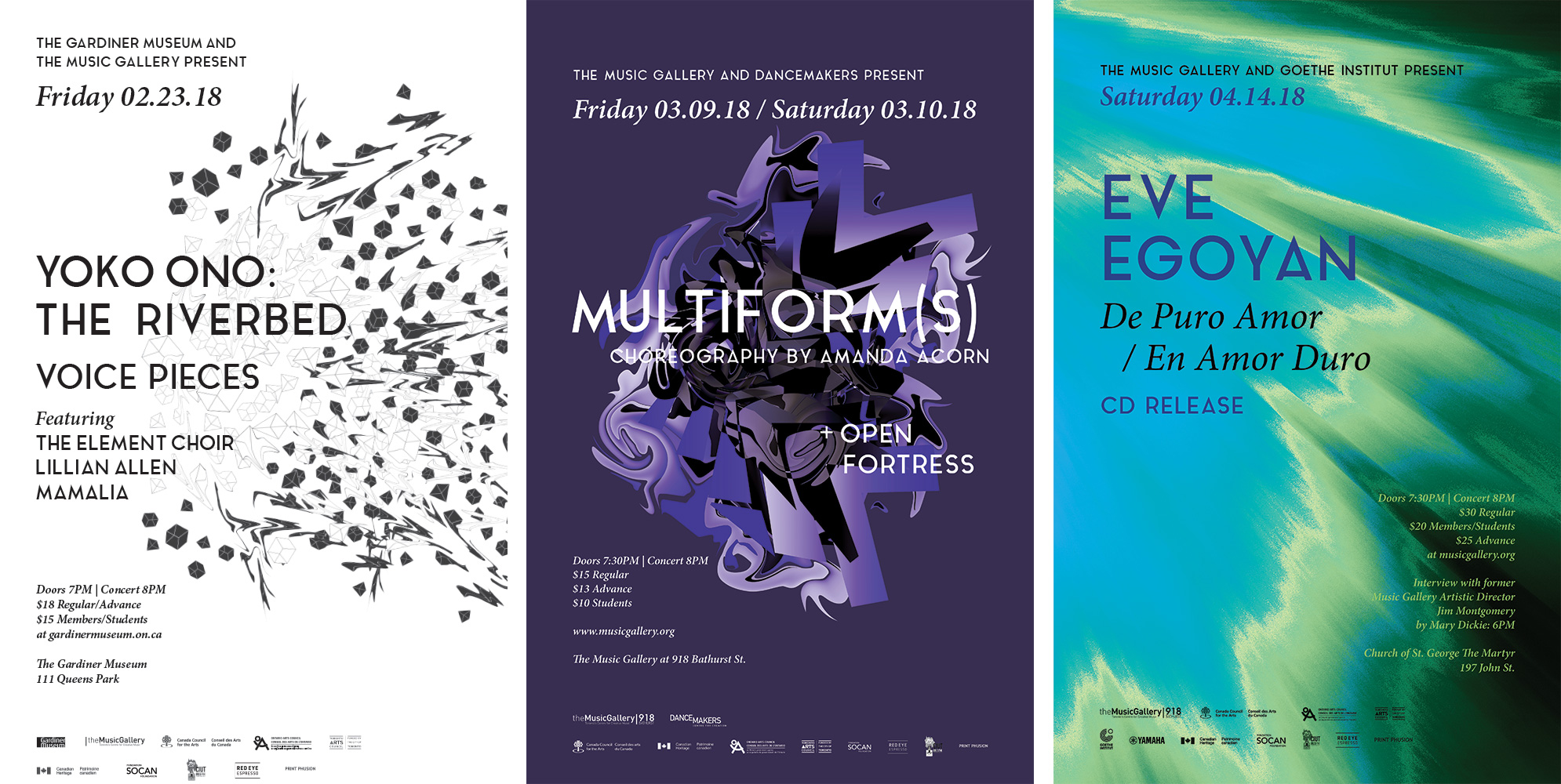 Image of three posters produced for The Music Gallery's 2017-2018 season. The first poster (left) has a white background and shows a series of black figures exploding outwards. The second poster (center) has a purple background and displays an abstract shape of multiple layers folding over itself. The third poster (right) is an abstract background of blue and green shades, giving the appearance of being a portion of the sky or a shoreline.