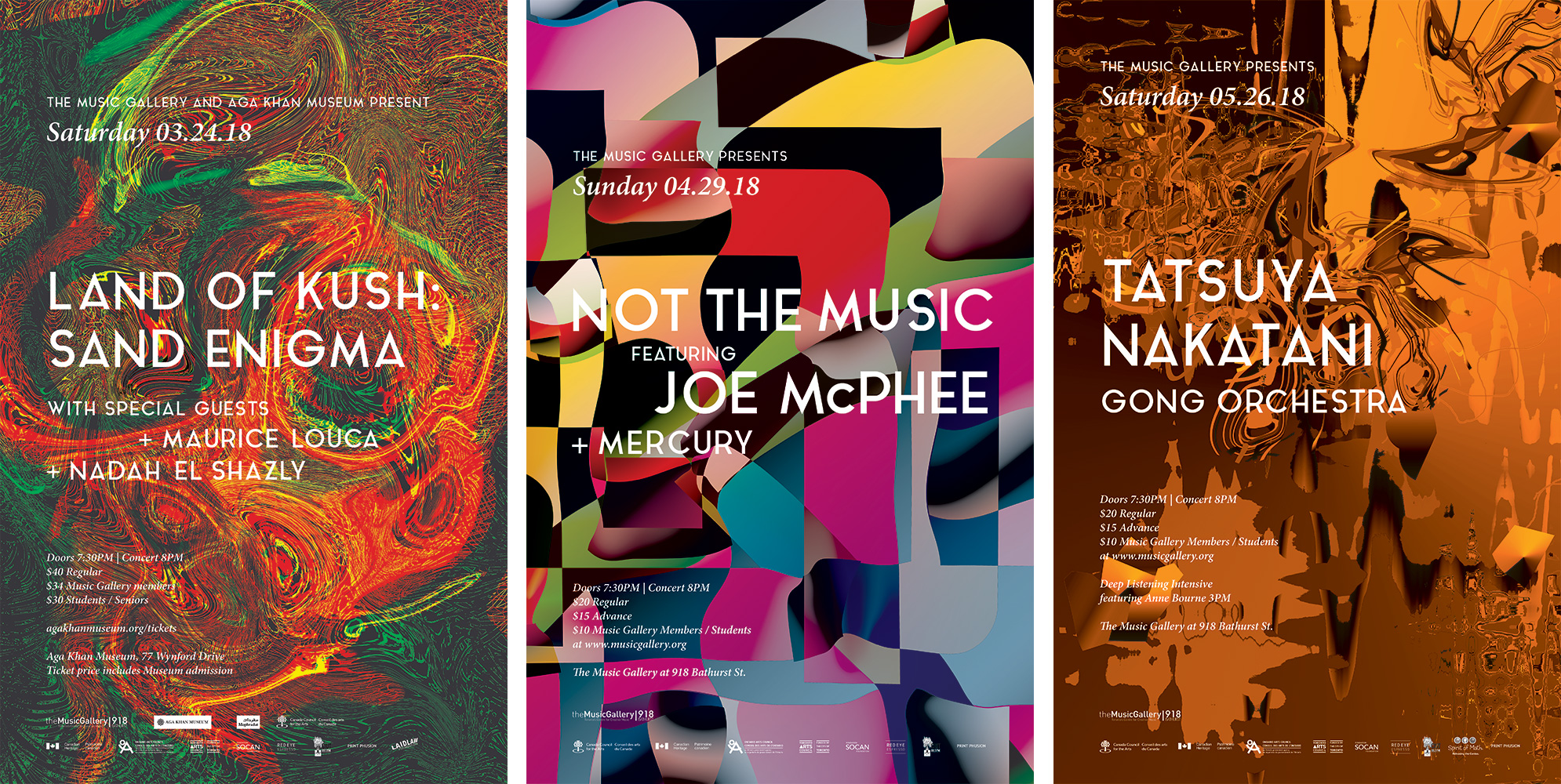Image of three posters produced for The Music Gallery's 2017-2018 season. The first poster (left) is a series of swirls with a sand-like texture. The second poster (center) consists of a series of waving figures overlaid on top of each other, giving the appearance of an asymmetric checkerboard of eclectic colors. The third poster (right) is an abstract composition of bronze-looking formations.