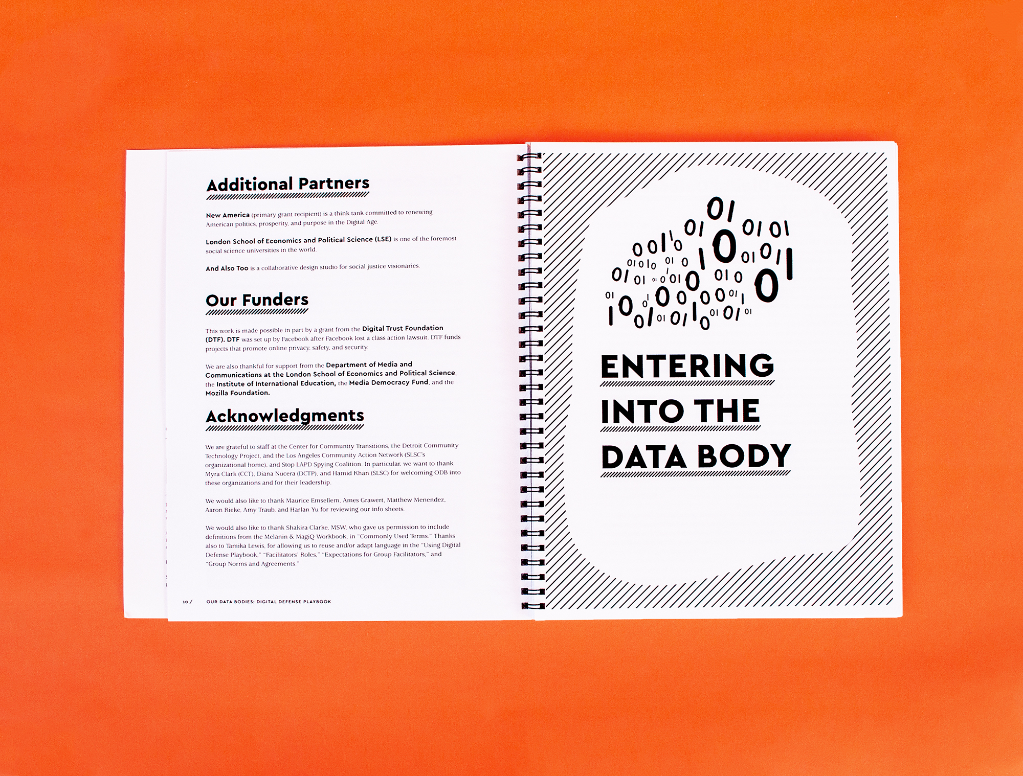 "Photo: Spread on left Additional Partners, Our Funders, and Acknowledgements. On the right, ""Entering into the Data Body"" divider page with a data flowing out."