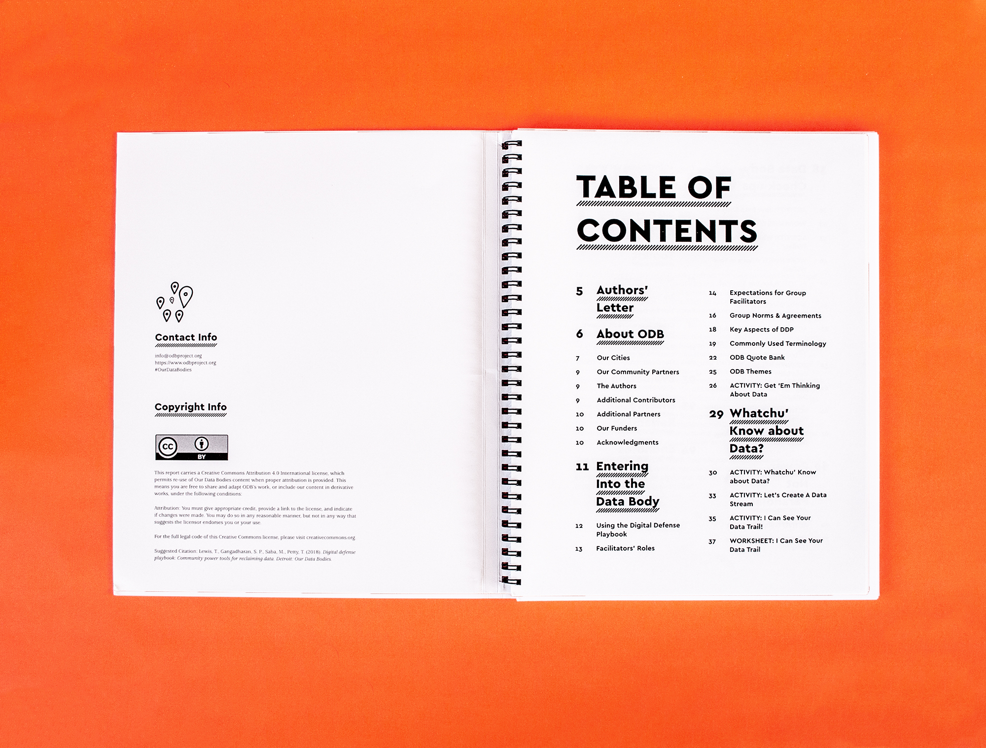 Photo: Spread of Table of contents