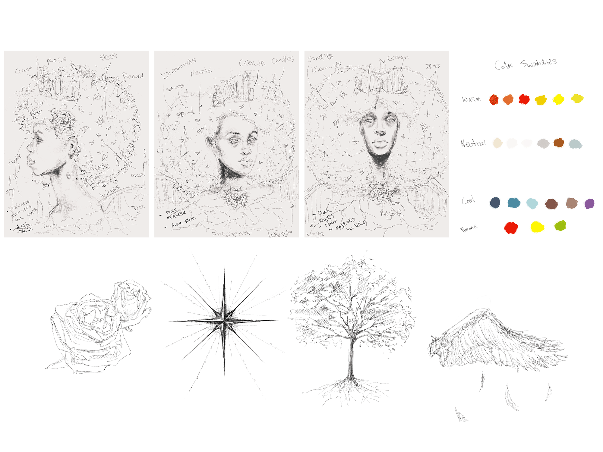 Exploration sketches of the cover and sketches of icons rose, star, tree and wing