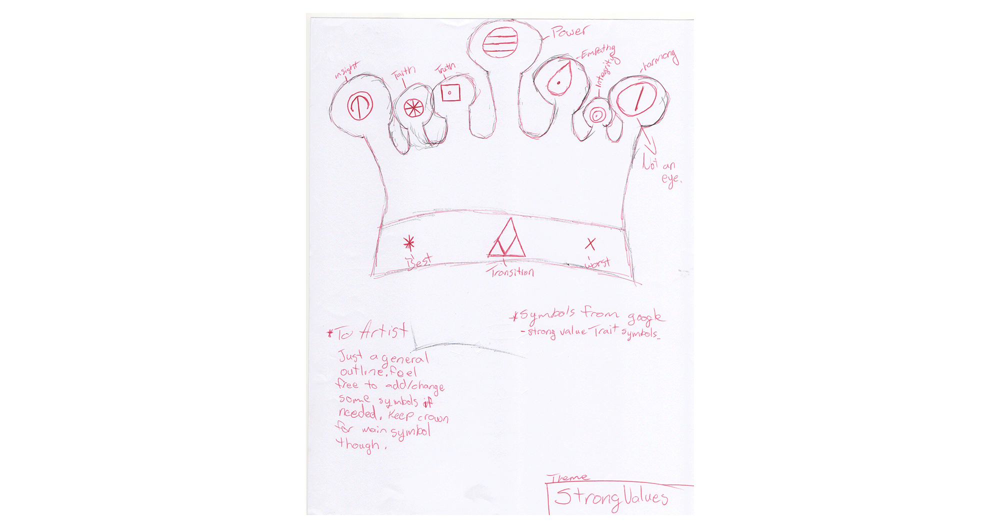 Sketch of crown with symbols