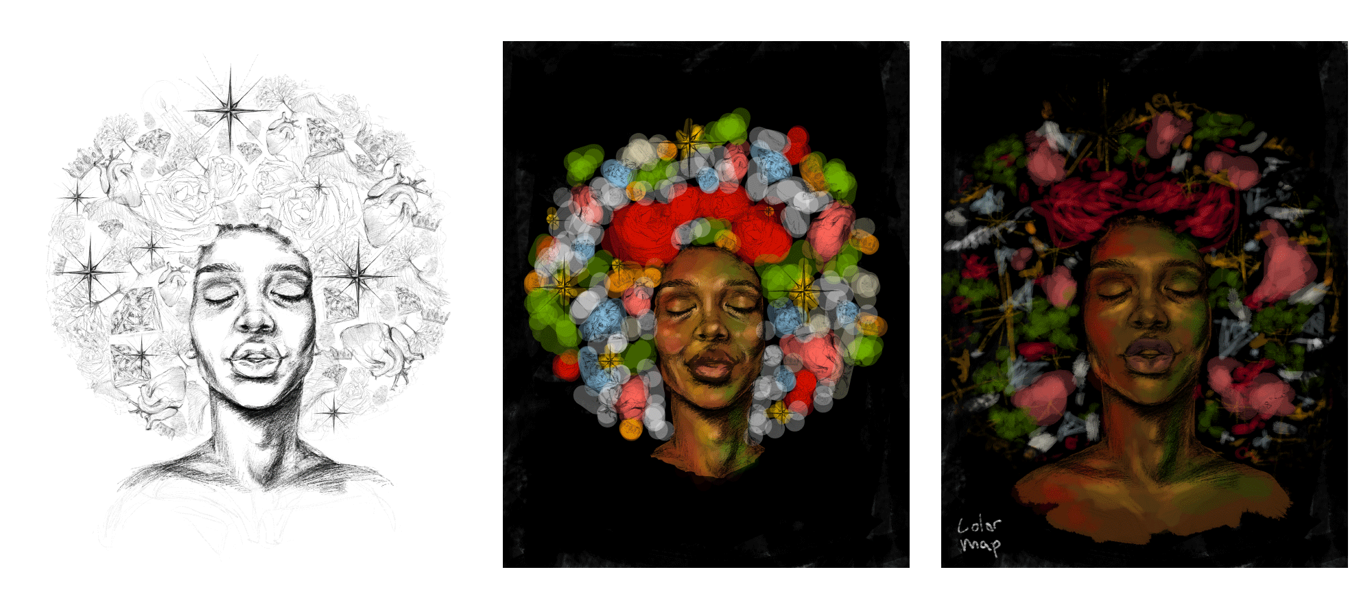 Sketch and digital iterations of Black woman with icons forming and afro
