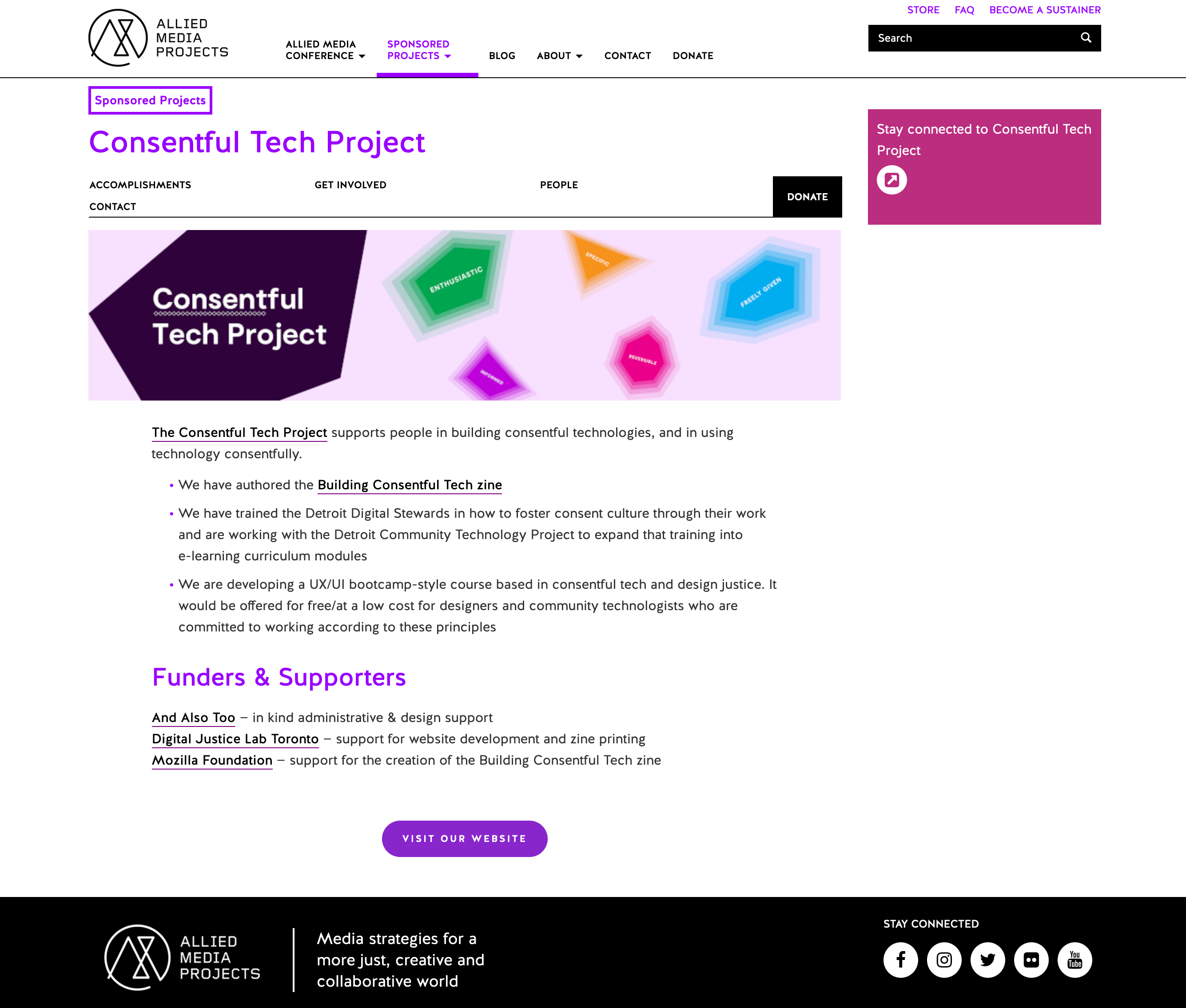 "Screenshot of the Consentful Tech Project's page on the alliedmedia.org website. There is a large, colourful banner with different gem shapes floating in it. The largest gem reads ""Consentful Tech Project."""