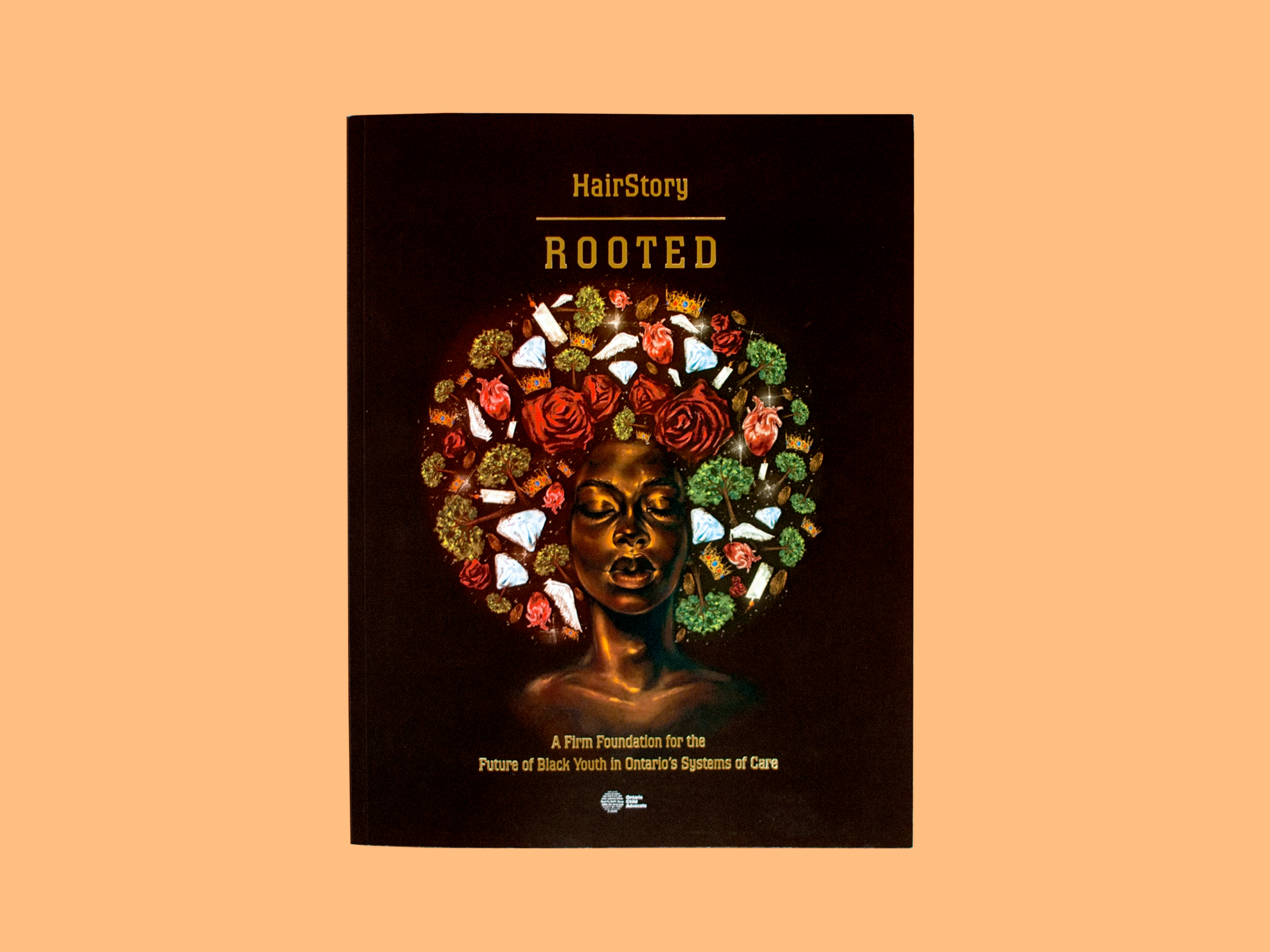 Graphic: Front cover of the report, Black woman with icons forming and afro