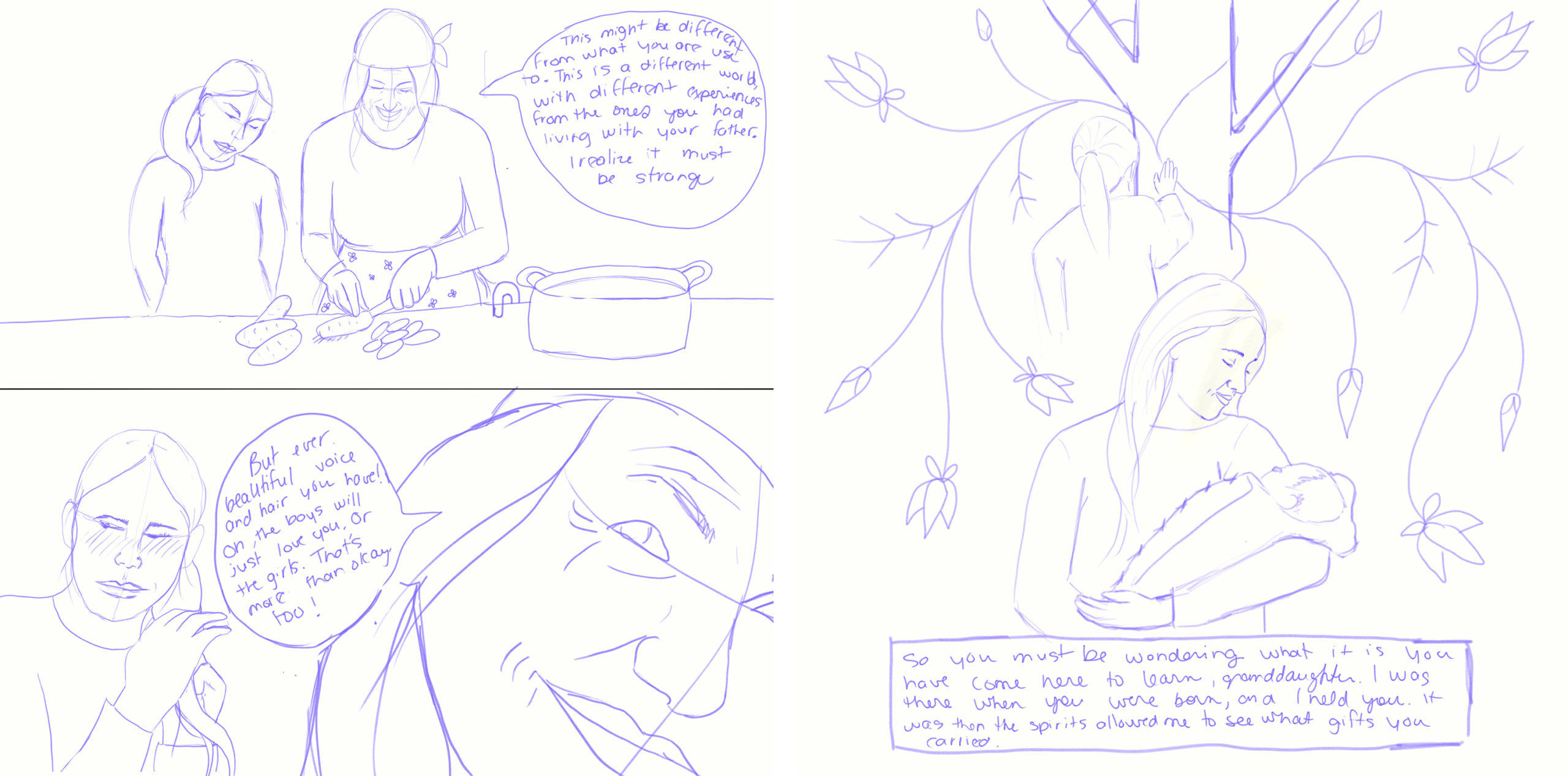 Sample of graphic novel panels done by Monique Bedard (Aura), for Manidoo Makwa: Spirit Bear. It shows outline drawings of a young Indigenous character and their grandmother. The panels also feature caption and speech bubbles with handwritten text.