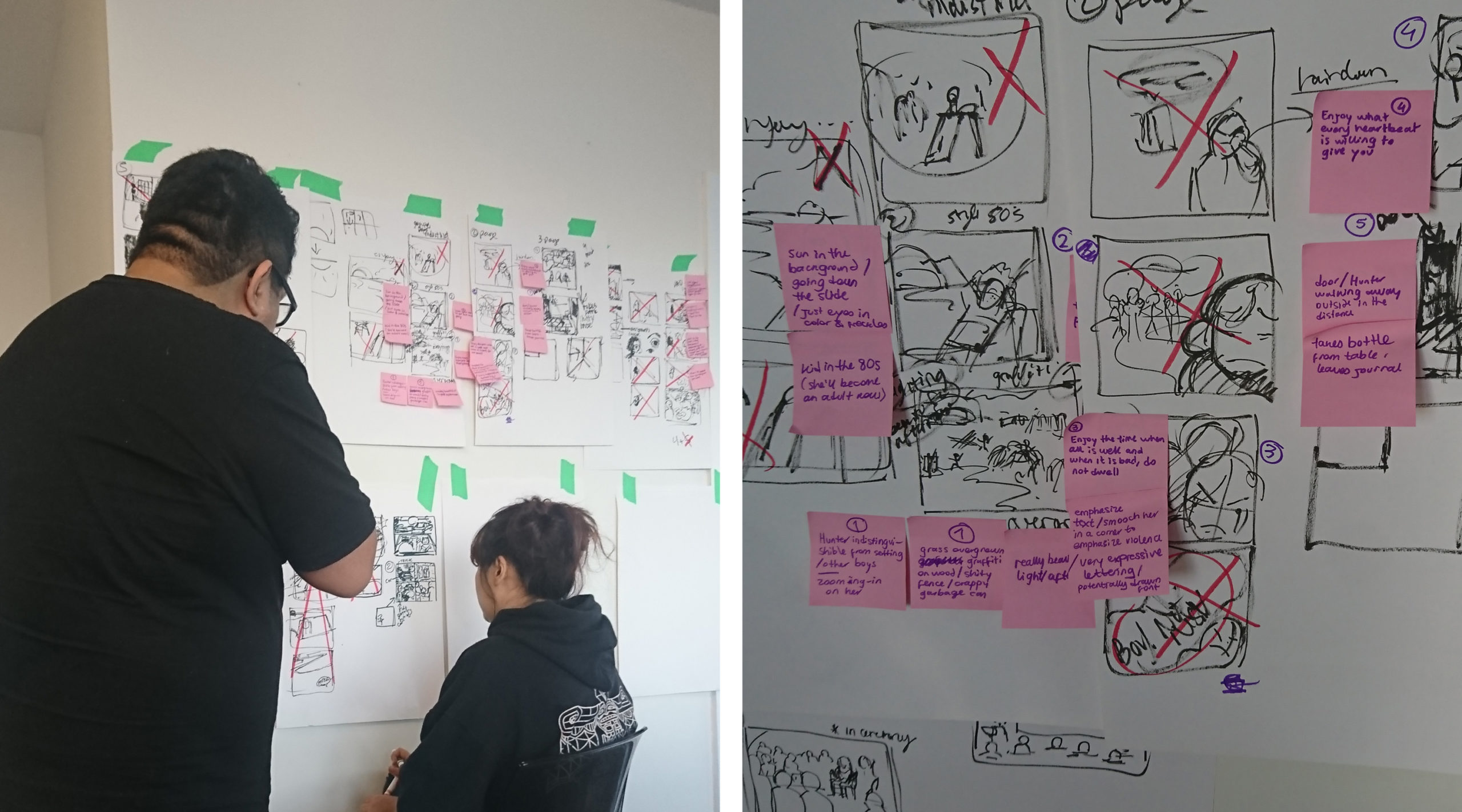 (Left): Photo of two young artists working on graphic novel storyboards taped to a wall. Both artists are wearing black and face away from the camera, attentively staring at the storyboards. (Right): Close-up photo of a graphic novel storyboard. Visible on the image are several hand-drawn frames, with various characters and settings inside of them. Some of the frames are crossed with a red 'x,' to indicate they are to be discarded. Some have post-its with comments on them.