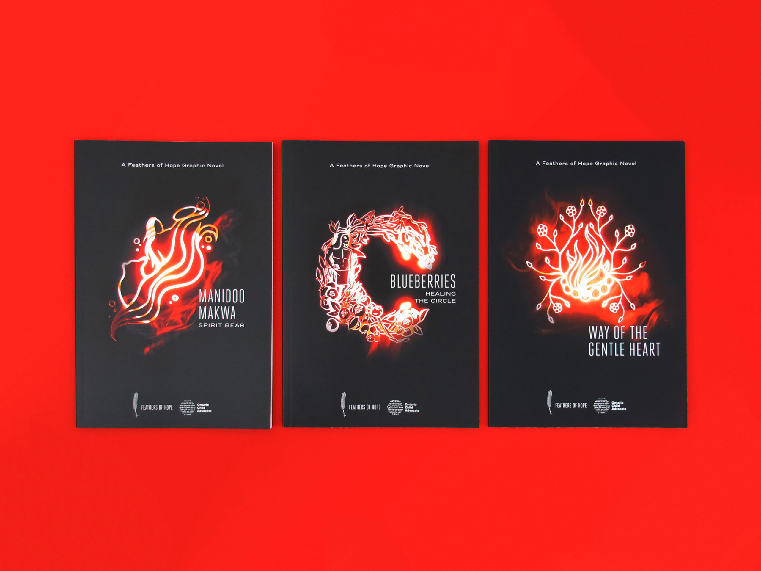 Photo of the Feathers of Hope graphic novels. The image shows a top-view of the three books, displayed in a row and sitting against a bright red background.