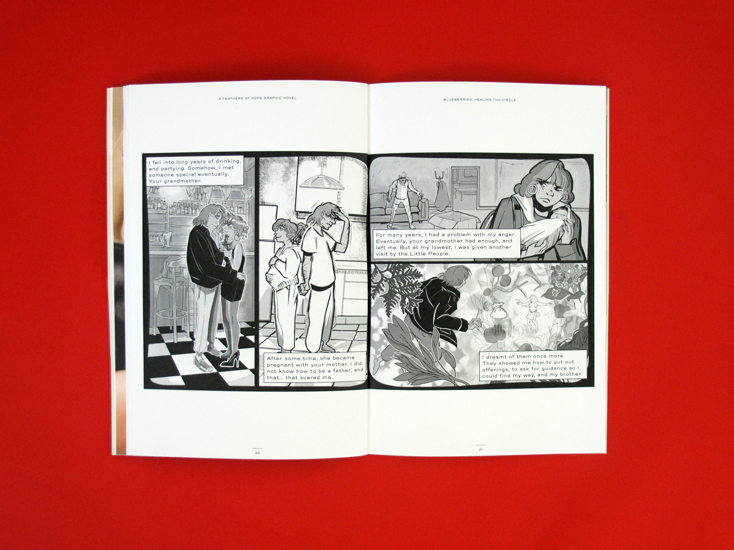 Photo of a spread of the graphic novel Blueberries: Healing the Circle. It is a series of black and white panels from pages 20-21.