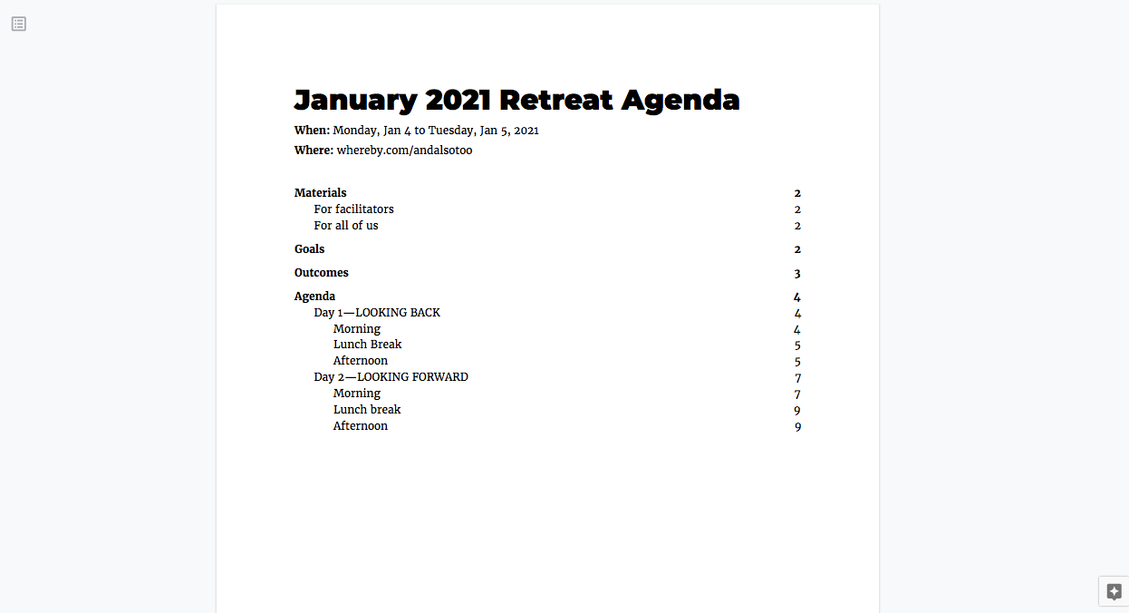 Screenshot of the first page (table of contents) of our retreat agenda. It lists the Materials, Goals, Outcomes and Agenda, divided into Day 1: Looking Back and Day 2: Looking Forward.