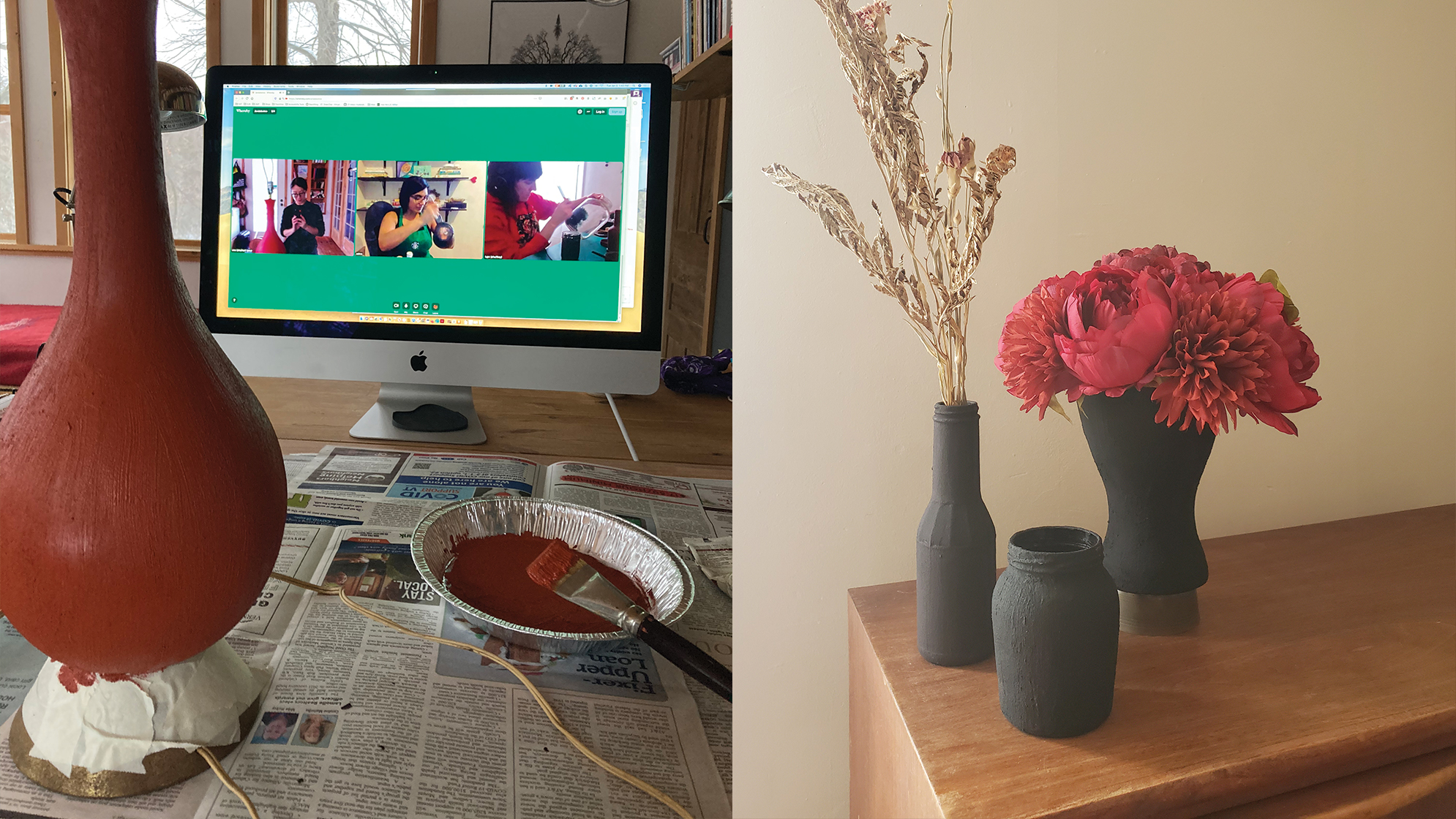 Photo composite. To the left: close-up of a lamp in the process of being painted with red, clay-like paint. In the background of the photo is an iMac, on which we are visible the And Also Too team in a conference room. Each of the team members is also painting an object. To the right: an arrangement of three clay-like vases holding dry flowers.