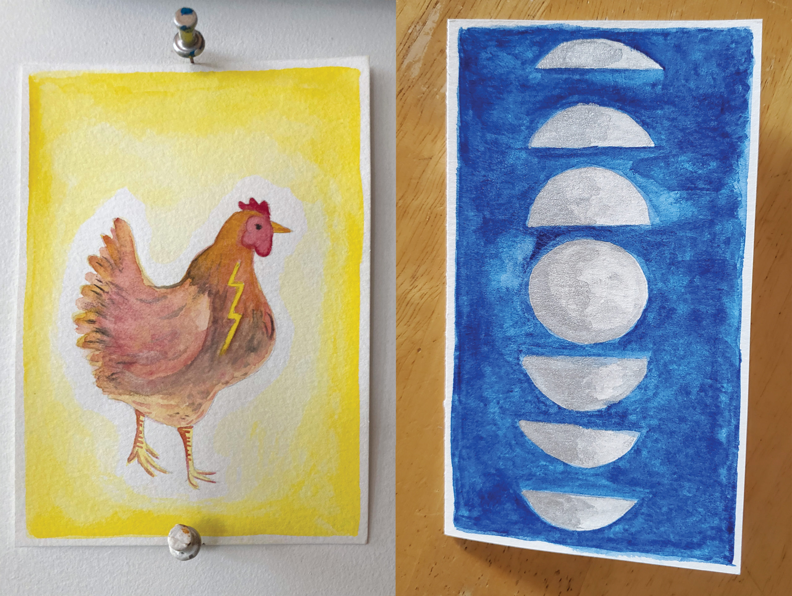 Composite photo of two cards sitting next to each other. The card on the left is a watercolor painting of a chicken; the card on the right is a watercolor rendering of the phases of the moon against a deep blue sky.