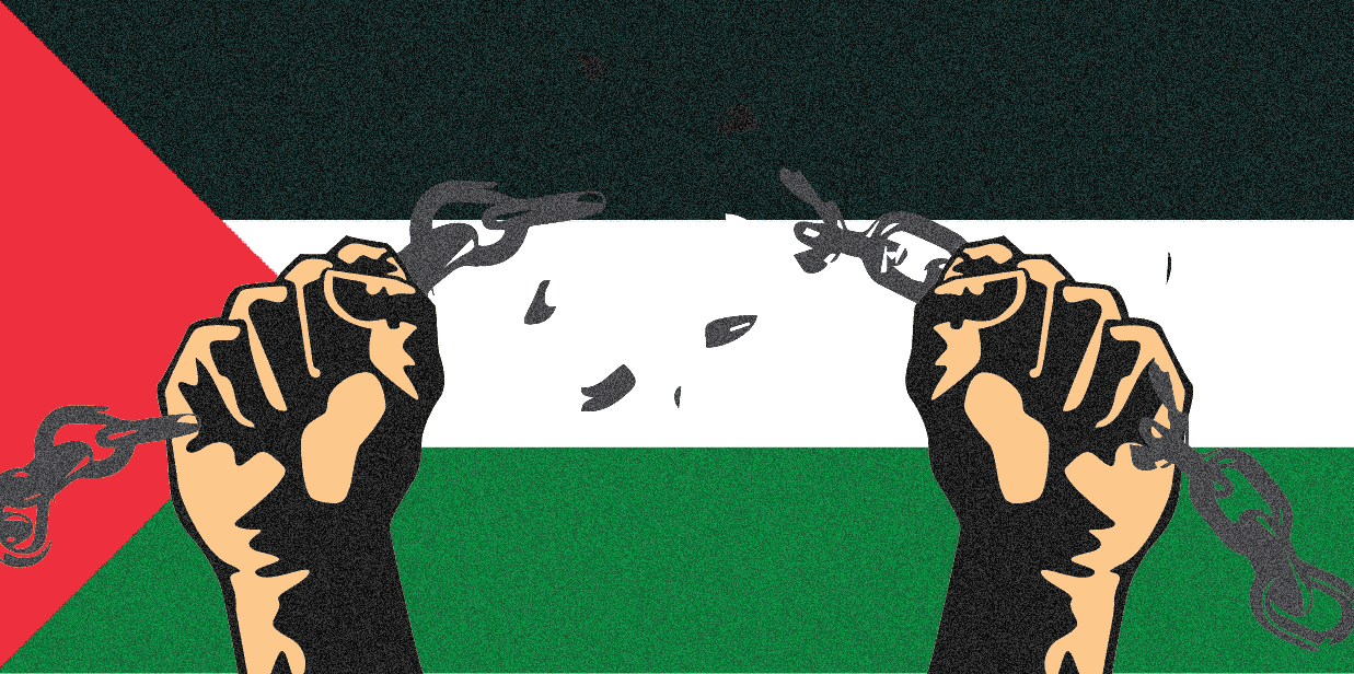 Illustration of two hands breaking up a chain against a background of the Palestinean flag.